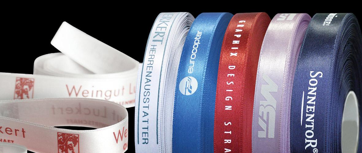 Dekorative Geschenkbänder individuell bedruckt mit ihrer Werbebotschaft!